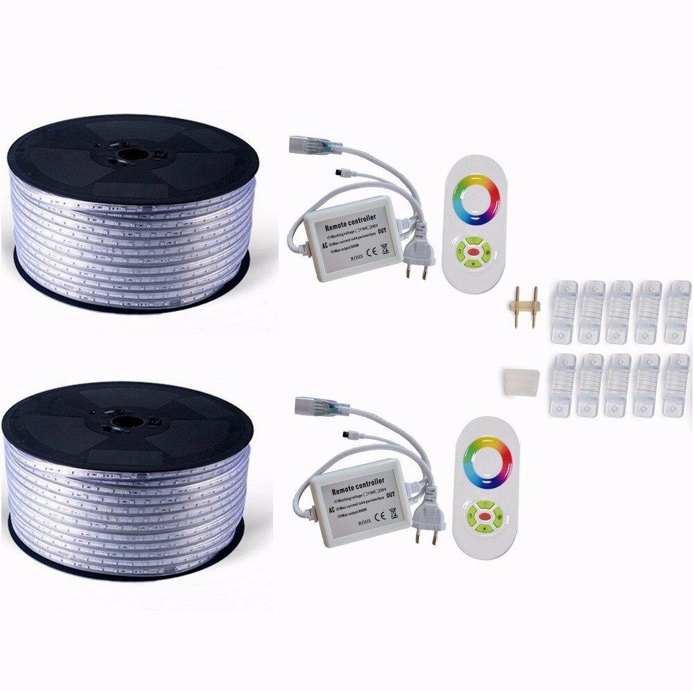 220 V 110 V Светодиодные ленты 5050 50 м 100 IP67 Водонепроницаемый RGB двойной Цвет веревка для наружного освещения с радиочастотным пультом дистанционного управления