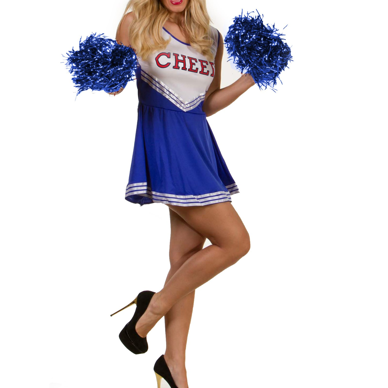 Fancy Dress Cheerleader Accessory Usa White /& Blue Cheerleader/'s Pom Pom Red