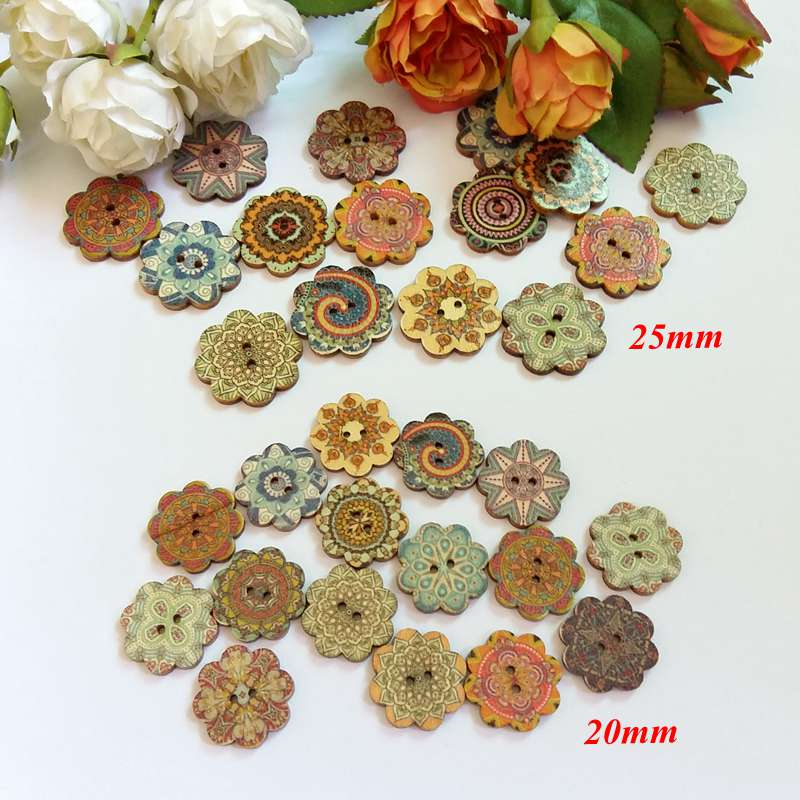 50pcs 2 Hole Mixed Flowers Wood Buttons Home Sewing Scrapbooking Decor 20mm