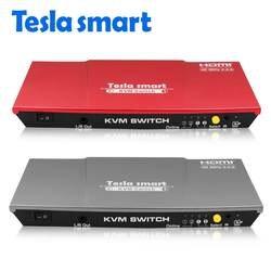 Tesla smart 2019 высокое качество 4 к @ 60 Гц USB HDMI KVM переключатель 2 порта USB KVM HDMI переключатель поддержка 3840*2160/4 к * 2 к дополнительный USB 2,0 порт