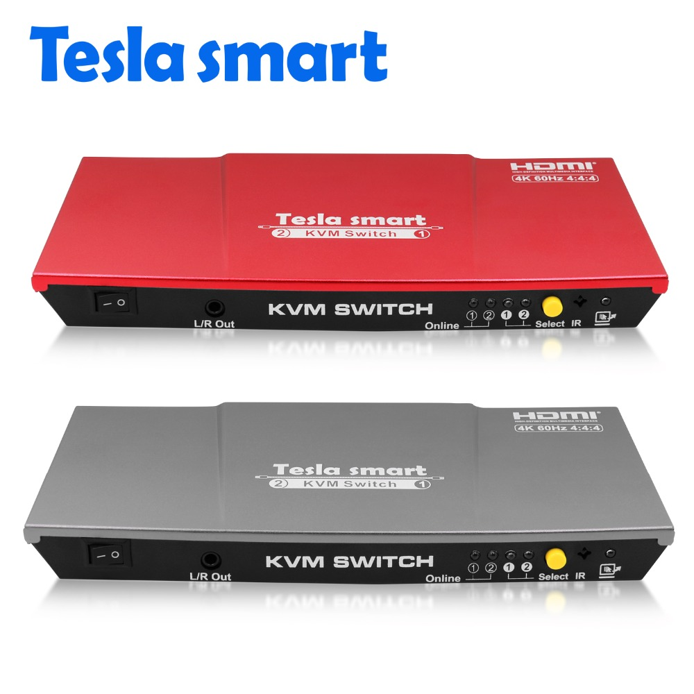 Tesla smart Hohe Qualität 4K @ 60Hz USB HDMI Kvm-switch 2 Port USB KVM HDMI Switch Unterstützung 3840*2160/4 Karat * 2 Karat Extra USB 2.0 Port