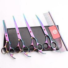 Z3003 5Pcs Set 7 Multicolor Professional Pets Hair Steel Comb + Cutting Shears Thinning Scissors Dogs Cats Curved