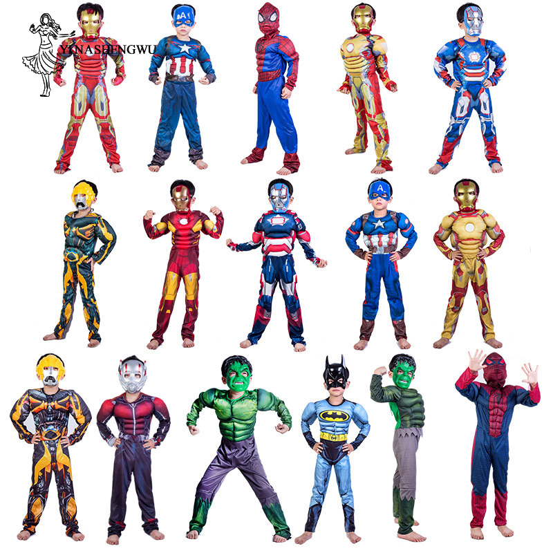 Cosplay Anime Spiderman Superman Iron Man Cosplay Costume for Boys Halloween Costume for Kids Star Wars Deadpool Thor Ant man