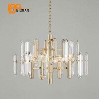 Brief Design Crystal Chandeliers Modern LED Light Gold Kristal Kroonluchter Living Room Dinning Room Hanglamp