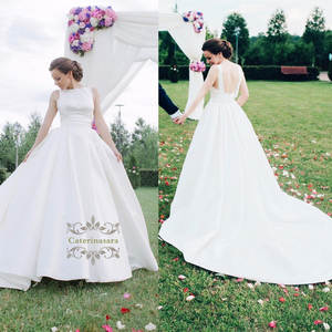 Custom made Women's Ball Gown Satin Wedding Dresses 2019 Backless Sweep Train Bridal Wedding Gowns Bateau Neckline for Girls