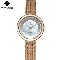 Brand WWOOR 2017 Ladies Rose Gold Quartz Watch Luxury Bracelet Watches With Fine Alloy Strap Women