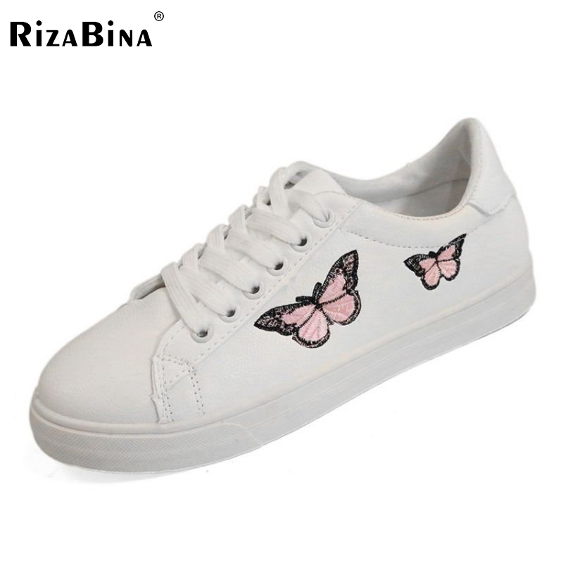 RizaBina Concise Women Sneakers Lady White Shoes Female Butterfly Cross Strap Flats Shoes Embroidery Women Footwear Size 36-40 rizabina concise women sneakers lady white shoes female butterfly cross strap flats shoes embroidery women footwear size 36 40