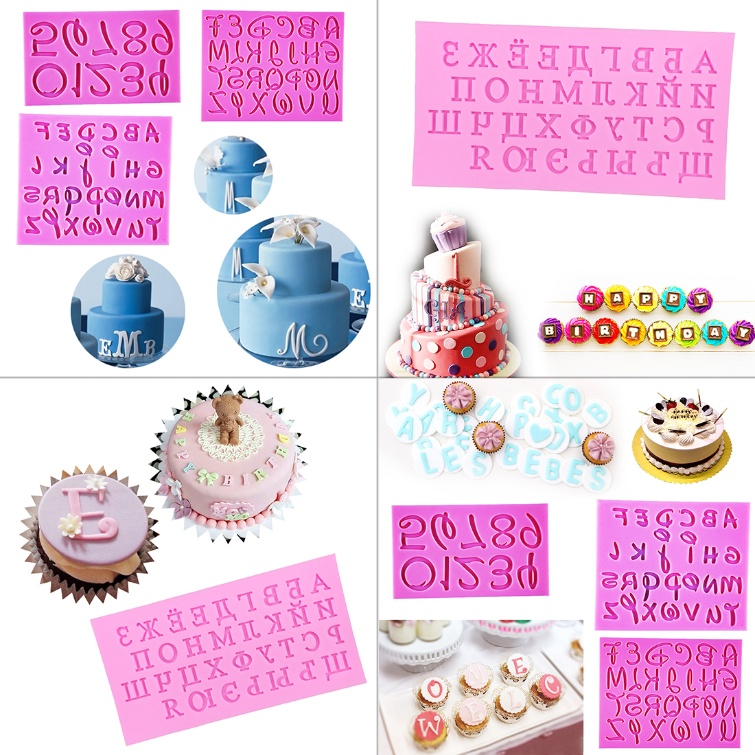 Kitchen,dining & Bar 1 Pc Pink Russian Alphabet Silicone Mold Mat Fondant Cake Gum Paste Mold Wedding Party Decoration Cupcake Pastry Baking Tools Cake Molds