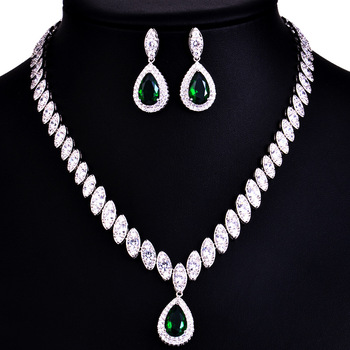 925 Sterling Silver Platinum Plate Luxury Diamond Women Wedding Jewelry Set Red/Green/Blue/White CZ Drop Earring Choker Necklace 3
