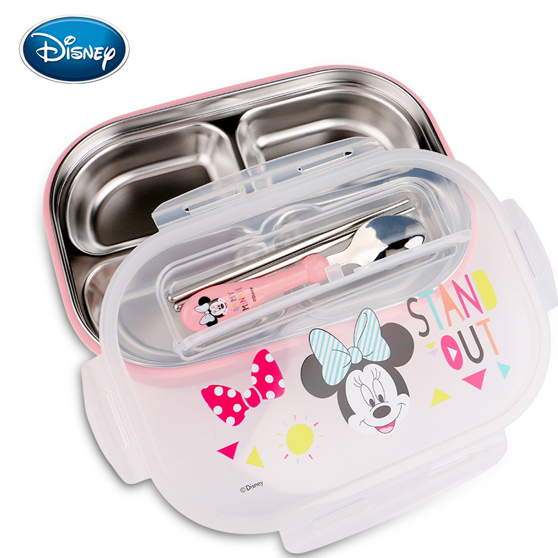 Disney Children's Plate Bowl Spoon Men And Women Stainless Steel Separate Dish Meal Tray Safe Cutlery Set