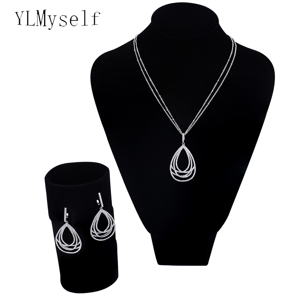 New water drop jewelry 2pcs sets for women Micro setting crystal cz stones bisuteria Gold color pendant necklace earrings sets artificial crystal water drop pendant necklace with earrings
