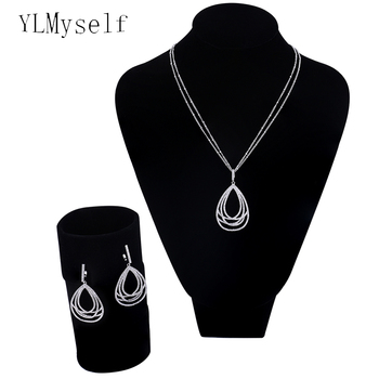New water drop jewelry 2pcs sets for women Micro setting crystal cz stones bisuteria Gold color pendant necklace earrings sets