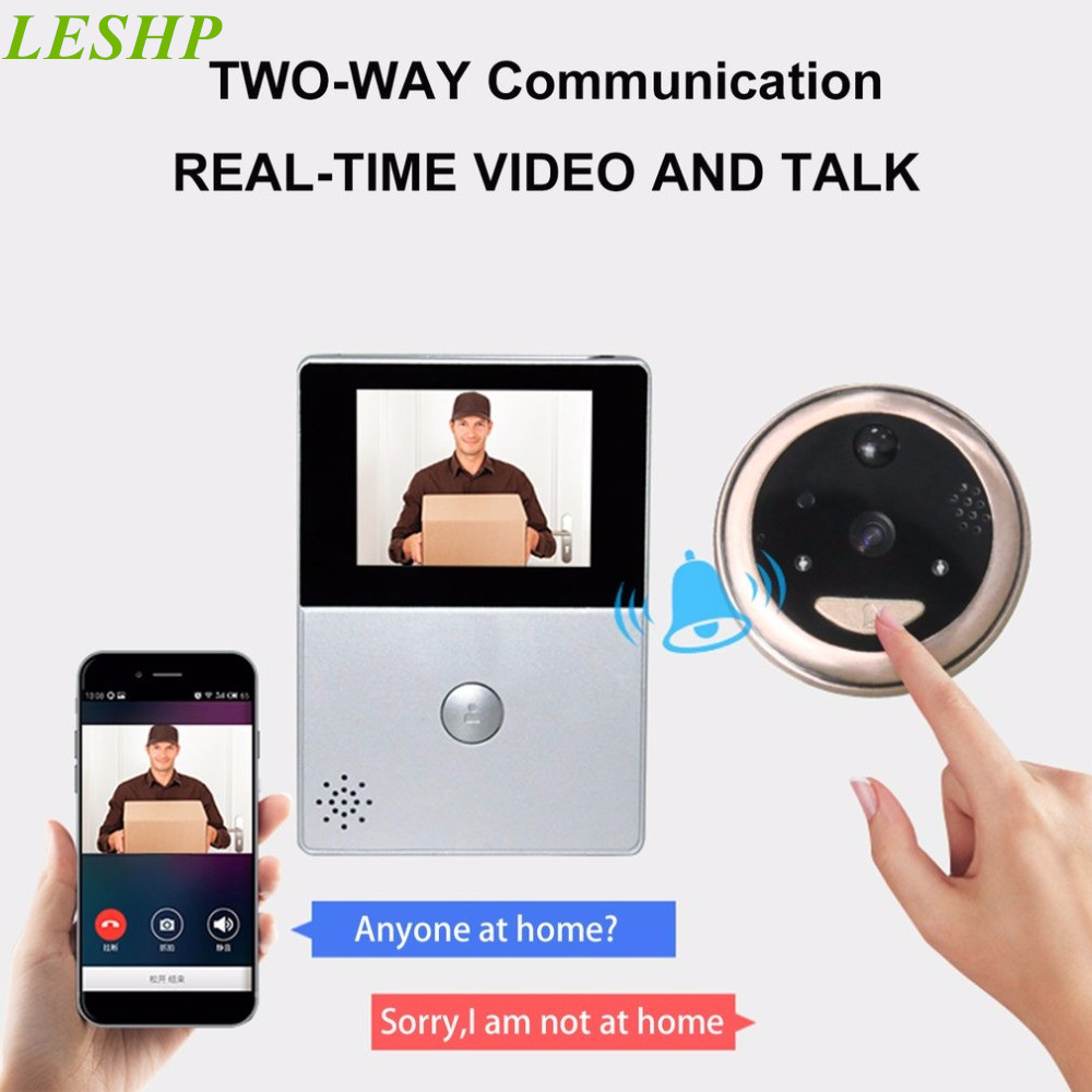 2.8 Inch LCD Wifi Peephole Wireless APP Smart Video Doorbell Night Vision HD Camera Door Intercom Support TF Card zilnk video intercom hd 720p wifi doorbell camera smart home security night vision wireless doorphone with indoor chime silver