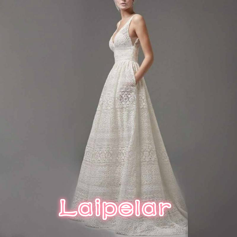 2018 Fashion Women Deep V NECK sleeveless High waist Lace party Dress Laipelar