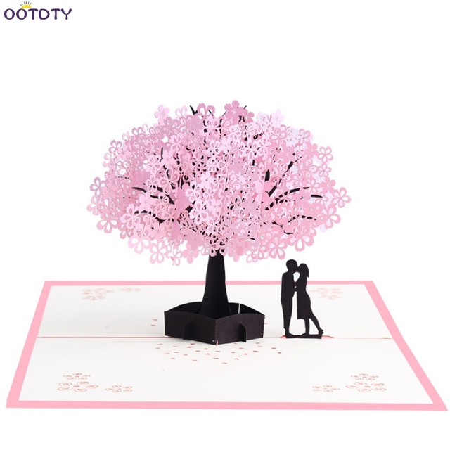 3d pop up lovers cherry blossoms greeting card christmas birthday new year invitation