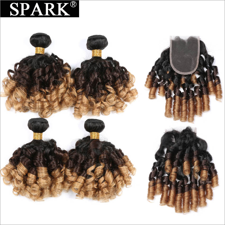 Malaysia Ombre Bundles With Lace Closure Spark Bouncy Culry Hair Bundles With Closure Remy Human Hair 3/4 Bundles With Closure