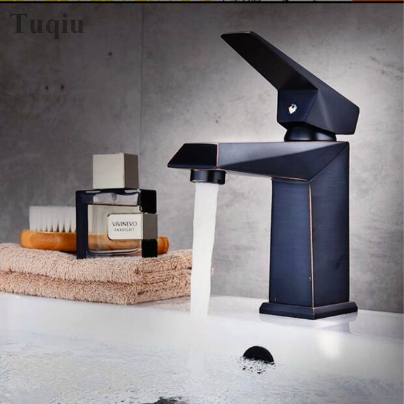 Free shipping total brass high quality unique design black finished hot and cold basin faucet sink faucet bathroom basin tap. new arrival total brass high quality unique design black finished hot and cold basin faucet sink faucet bathroom basin tap
