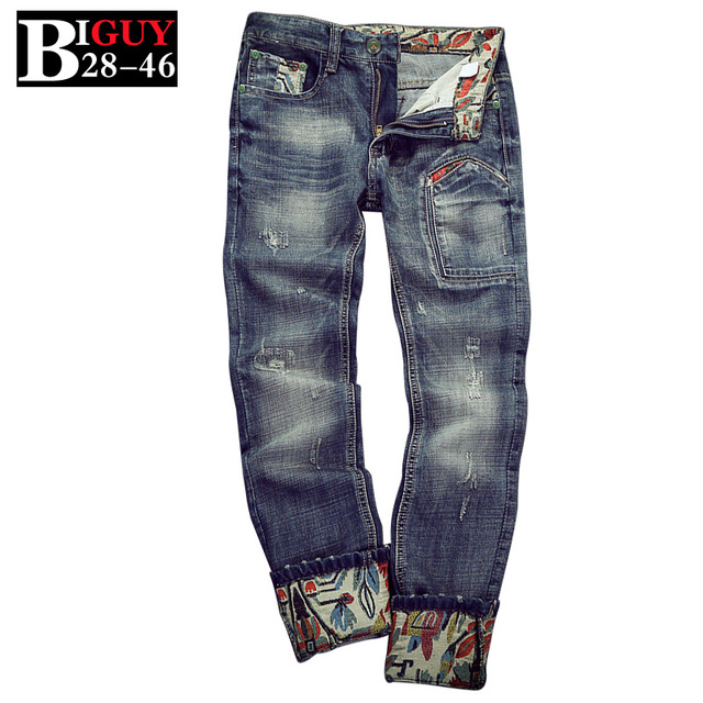 Patchwork hip hop jeans hombres de gran tamaño 42 de la vendimia 2016 de la moda de primavera de corea del hombre jeans pantalones 427