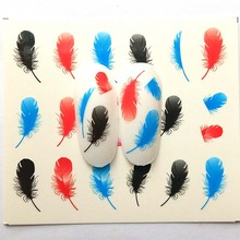 1 Sheets Nail Sticker Feather Summer Colorful Water Transfer Decorations UV Gel Polish DIY Decals B25/B26/B27/B28