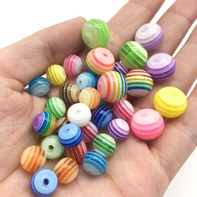 Akrylharts Cirkulär regnbåge Stripe pärlor Multi färg Rakt hål Barn halsband tillbehör Ny ankomst 8mm 12mm