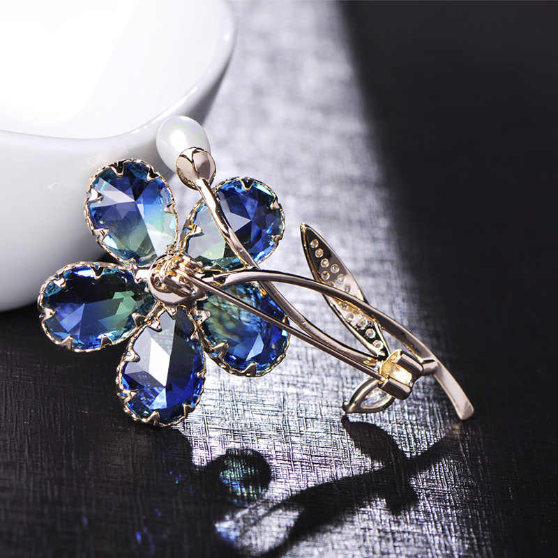 e3b244e14 ... Blucome Luxury Plant Flower Brooch Zircon Copper Pearl Crystal Jewelry  Women Girl Clothing Wedding Elegant Pin