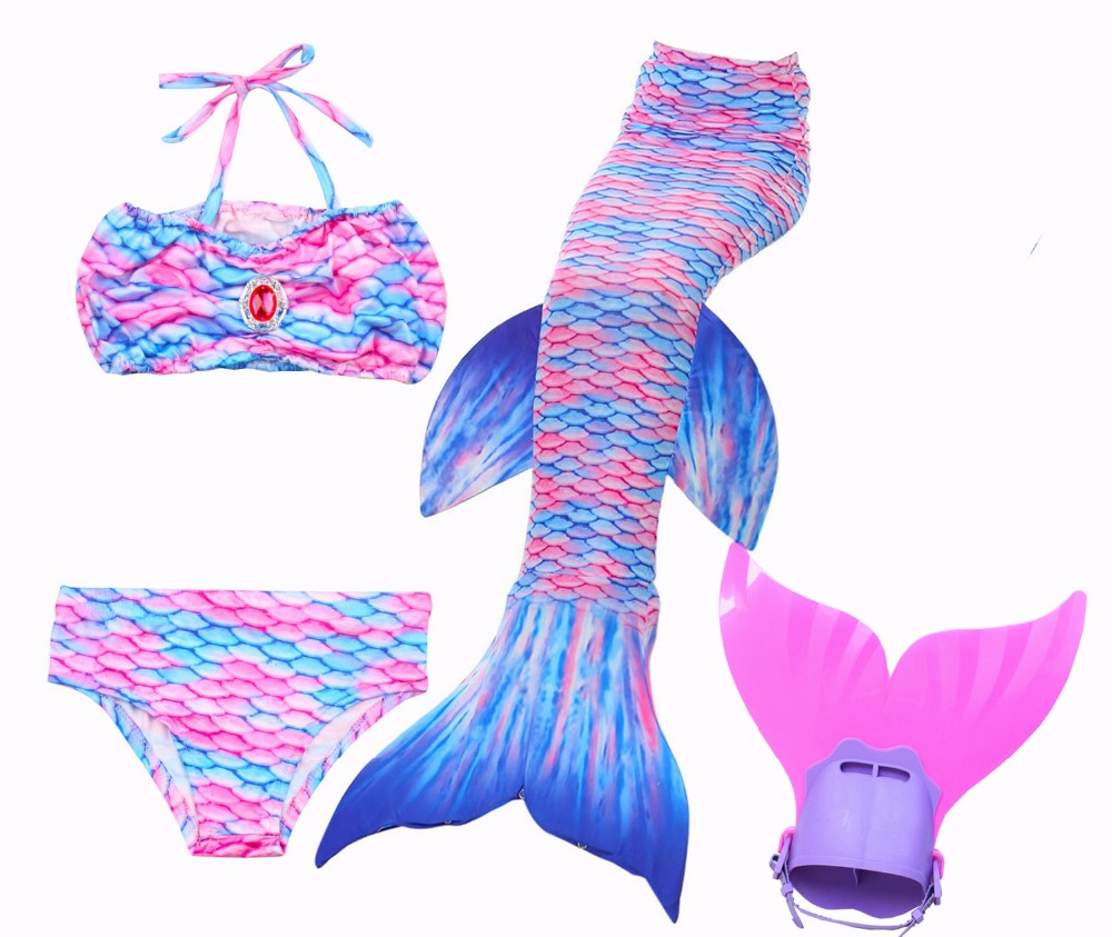 HOT!New Girls Kids Swimsuit Mermaid Tail Swimmable Children Diamonds Mermaid Tail With Flipper Fin Costume for Girls Swimming