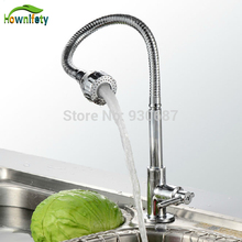 Free Shipping Chrome Finish Swivel Spout Kitchen Faucet Deck Mount Cold Water Faucet