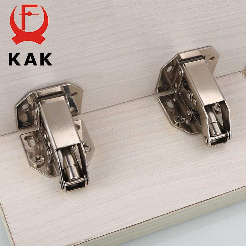 KAK 90 Degree Cabinet Hinges 3 Inch No-Drilling Hole Bridge Shaped Spring Hinge Cupboard Door Furniture Hardware With Screws