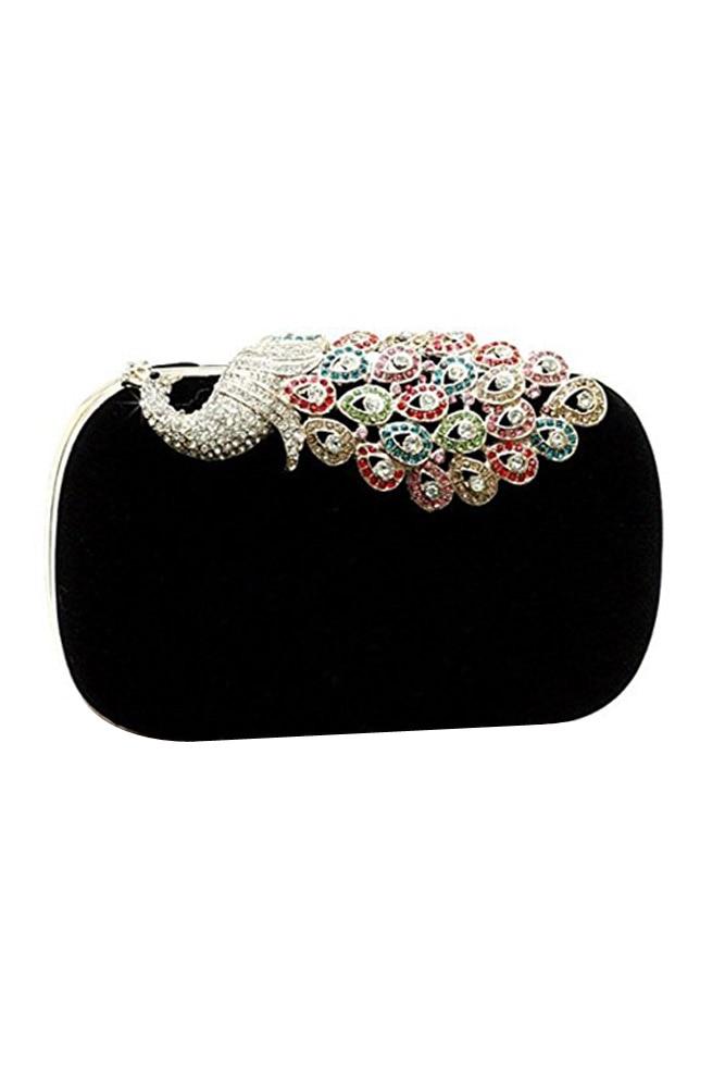 Для женщин Элегантная вечерняя сумочка; BS010 дамская сумочка клатч идеально павлин черный для свадьбы и Вечерние платья)
