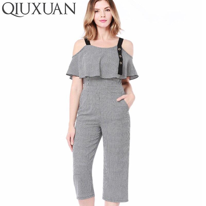 QIUXUAN Ruffles Pockets Bodysuits Rompers Ladies Beach Cotton Linen Spaghetti Strap Jumpsuits Women Party Striped Long Pants
