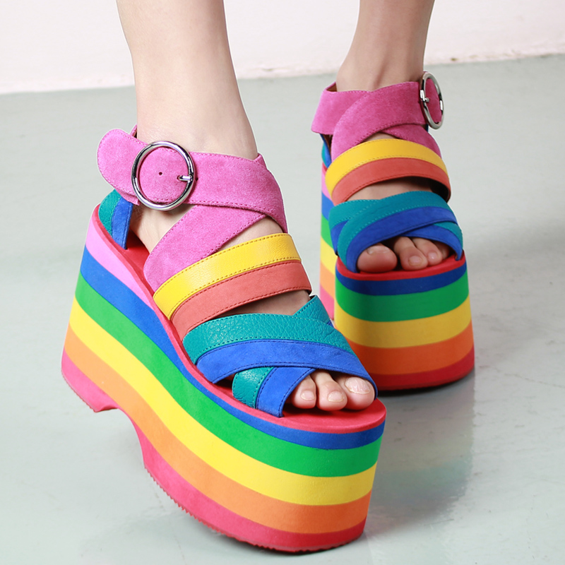 Summer New Colorful Gladiator Sandals Women 2016 Strap High Heels Wedges Dress Shoes Woman Rome Style Platform Sandals Botas phyanic 2017 gladiator sandals gold silver shoes woman summer platform wedges glitters creepers casual women shoes phy3323