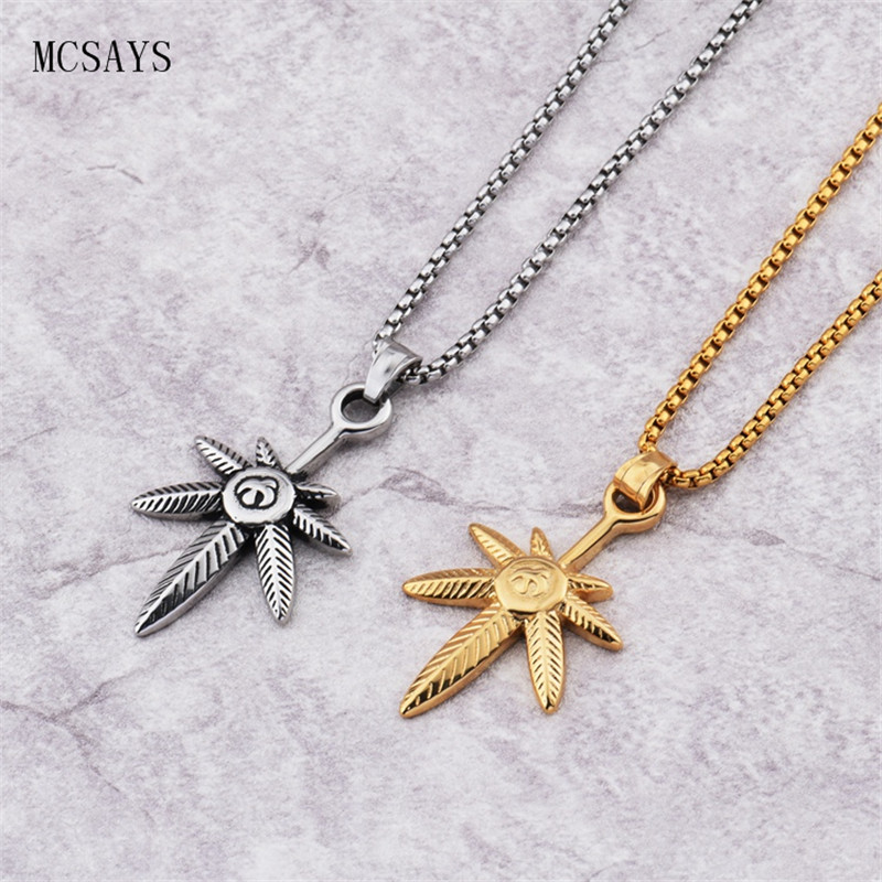 MCSAYS Stainless Steel Punk Necklace Weed Leaf Hemp Leaf Marijuana Pendant Sliver/Gold Color Necklace Jewelry Dope Gift 3GM