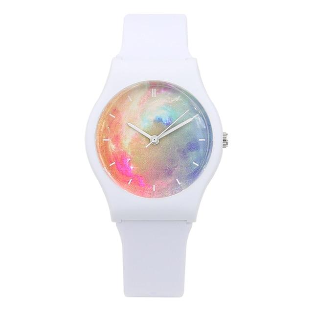 Nueva moda Harajuku estrella mujer resistente al agua deportes jalea Reloj Simple mujeres transparentes relojes para señora niñas reloj