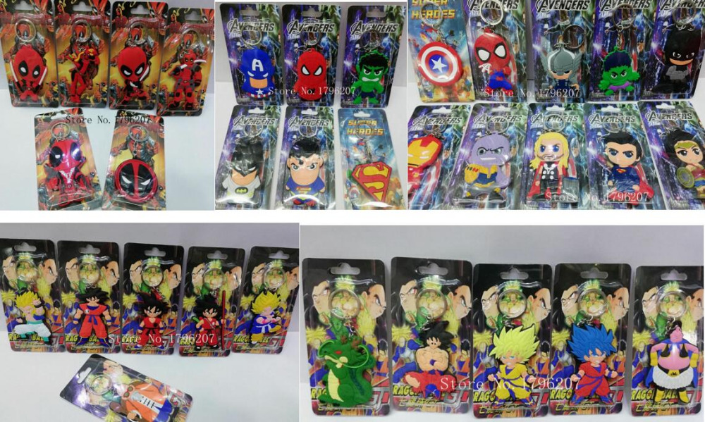 New 100 pcs Cartoon Super hero Avengers Dragon Ball Z Deadpool Double sided PVC keychains Anime