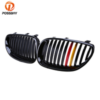 POSSBAY Racing Grille Gloss Black Red Yellow Germany Flap Grilles for BMW E60 Sedan E61 Touring 2003 2010 Front Center Grilles