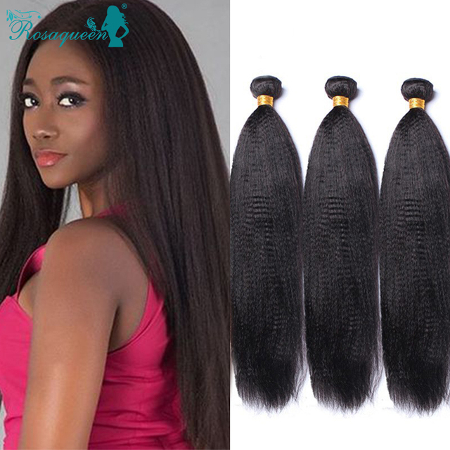 Italian Coarse Yaki Hair Weave Extensions Filipino Virgin Hair Italian Coarse Yaki Straight 4 Pcs/Lot Rosa Queen Hair Products
