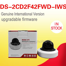 In stock DS-2CD2F42FWD-IWS English version 4MP WDR Mini PT Network cctv IP Camera wifi POE SD card recording, audio alarm
