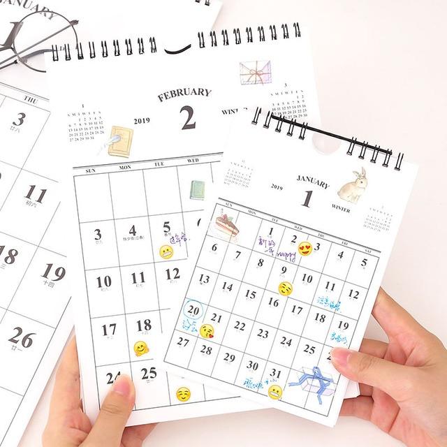 Calendario Diario.1 81 Calendario 2019 Calendario Simple Calendario Creativo Escritorio Calendario Diario Agenda Anual Organizador Para Oficina Escolar En Calendario
