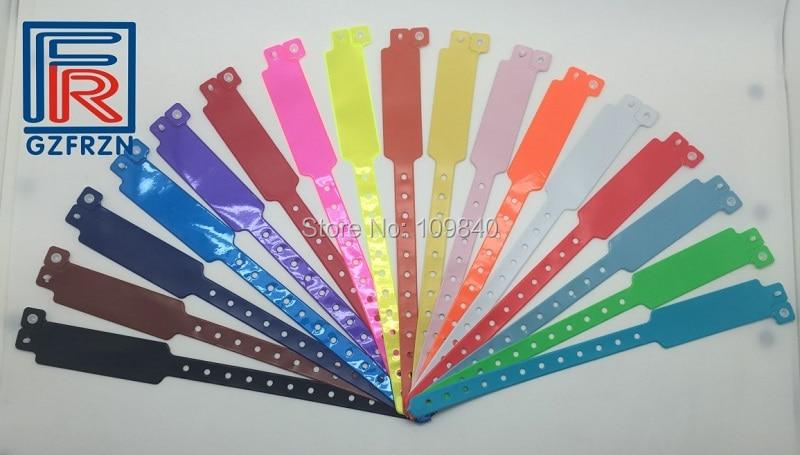 100pcs/lot Festival Event PVC Wristband Vinyl Bracelet Plastic Bands For Adult Identification Colorful