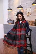 2015 Scarf Women scarf Tartan scarves Tartan Plaid Scarf Beige Cozy Checked Blanket Oversized Wrap Shawl