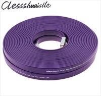 Эксклюзивный фиолетовый Стандартный HDMI 2.0 плоские длинные сертифицированный кабель Провода мужчинами 15 м 20 м 4 К * 2 К 3D Ethernet 15 20 м, DHL