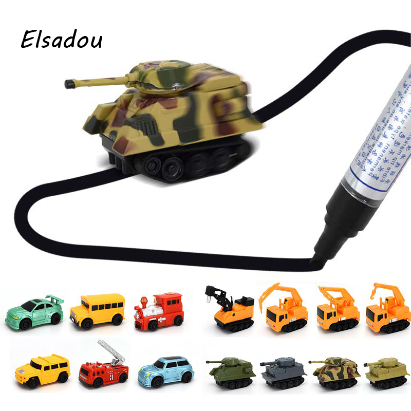 2017 New Engineering Vehicles Truck MINI Magic Inductive Children's Truck Tank Toy Car Draw Lines Induction rail Track Car