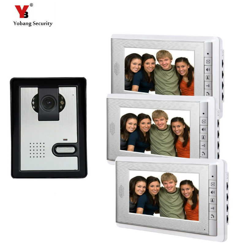 Yobang Security freeship 7 TFT LCD Color Video Door Bell Video Intercom Phone + Waterproof Door Bell Camera + 3 White Monitor freeship 10 door intercom security system hands free monitor color tft lcd screen intercom system video door phone for villa
