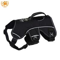 Adjustable Nylon Quick Fit Reflective Stitching Dog Harness For Large Dogs Black Soft Training Vest Pet