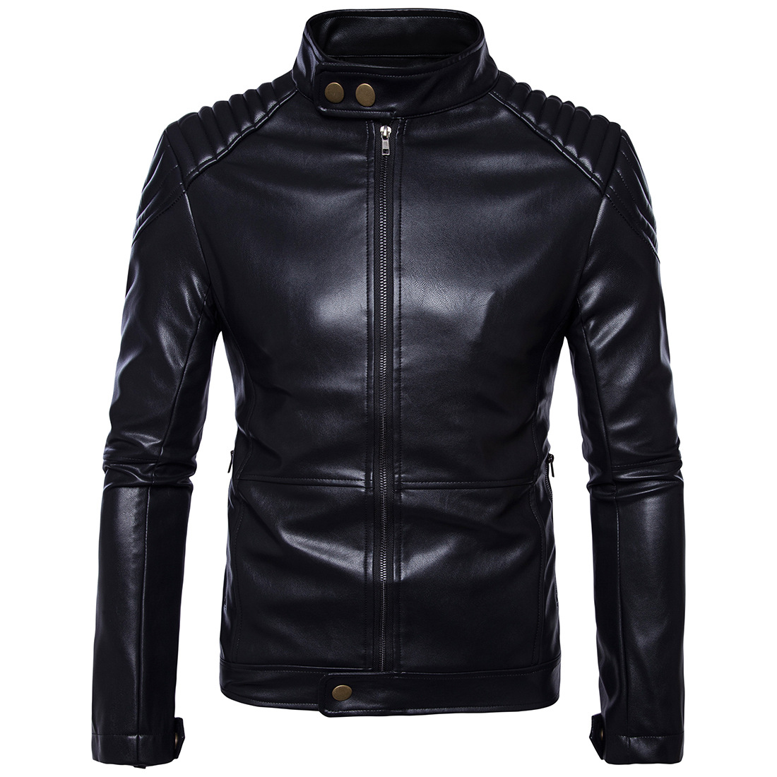 New Retro Motorcycle Jacket Vintage PU Leather Stand Collar Classic Punk Biker Moto Jacket Slim Biking Riding Jaqueta Motoqueiro pu leather spliced stand collar zip up jacket