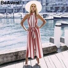 4a0e61c6fc3e BeAvant Halter backless red stripe sexy jumpsuit romper Summer bow  sleeveless long overalls Elegant beach playsuit