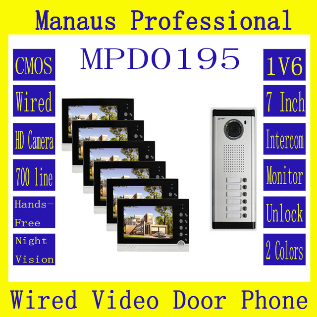 High Quality Smart Home 1V6 Intercom System One to Six Video Doorbell 7 Inch Display 6 IR Lamps Cable Visible Interphone D195b