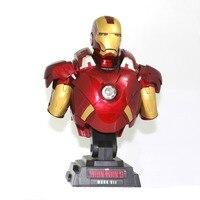 23 cm Escudo América Anime Avengers Marvel Guerra Civil Busto Luz MK7 1/4 Figura de Ação Brinquedos do Homem de ferro ironman 23 cm Coleção