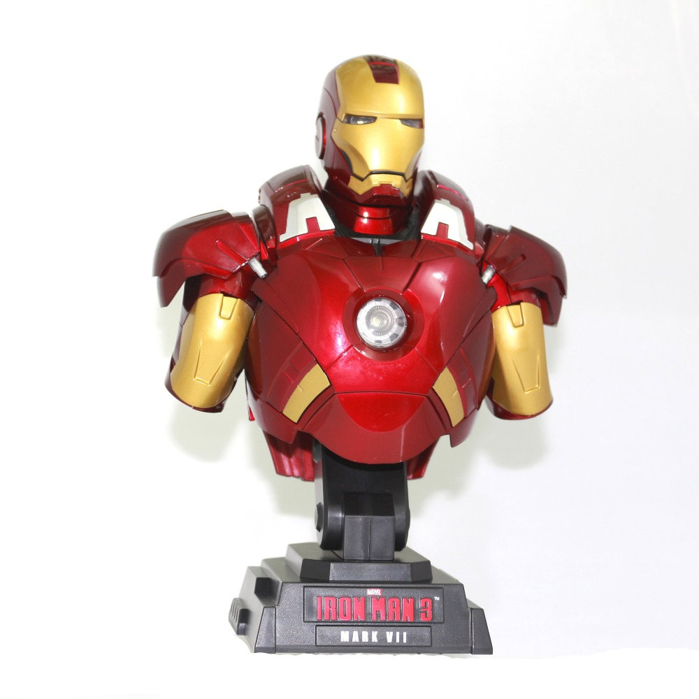 23cm Marvel Shield America Anime Avengers Civil War iron Man ironman Bust MK7 Light 1/4 Action Figure Toys 23cm Collection statue avengers captain america 3 civil war iron man tony stark 1 2 bust mk33 half length photo or portrait with led light w216