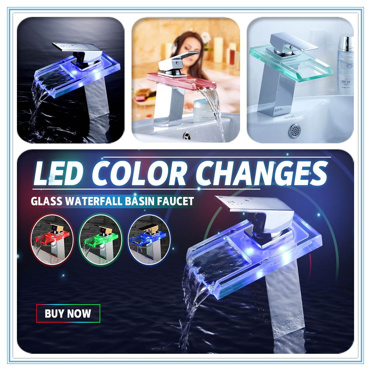 LED Color Changes Glass Waterfall Basin Faucet Bathroom Bath Tub Single Handle Sink Mixer Tap Kitchen Water Faucet Chrome Finish